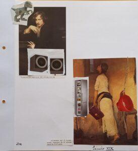 Duas pinturas antigas, retratos com colagens de um dinossauro, de colunas de som, de um frigorífico, de um balde de plástico...
