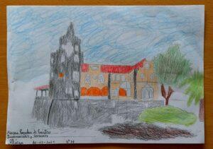 Desenho elaborado a lápis de cor que retrata o Museu Condes de Castro Guimarães, em Cascais.