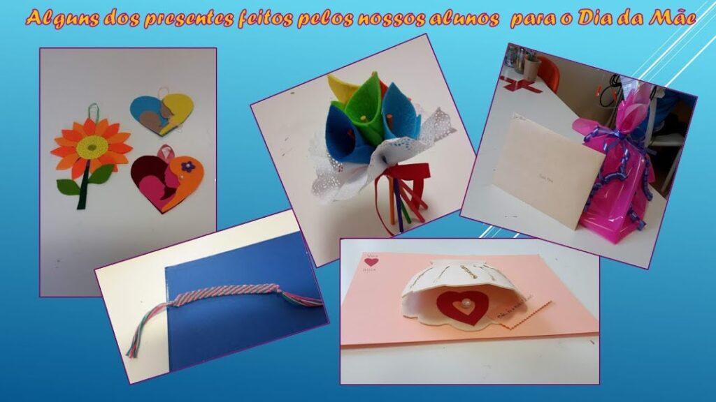 """Composição com texto """"Alguns dos presentes feitos pelos nossos alunos para o Dia da Mãe"""" com flores tridimensionais e bidimensionais, pulseira, concha com uma pérola e um embrulho com uma carta"""
