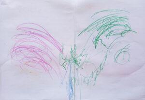 Resultado de um trabalho produzido com a utilização da técnica de Heather Hansen: utilização dos dois braços para escrever e desenhar.