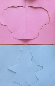 Um trabalho realizado, segundo a técnica de José Escada, com recortes de cartolina.