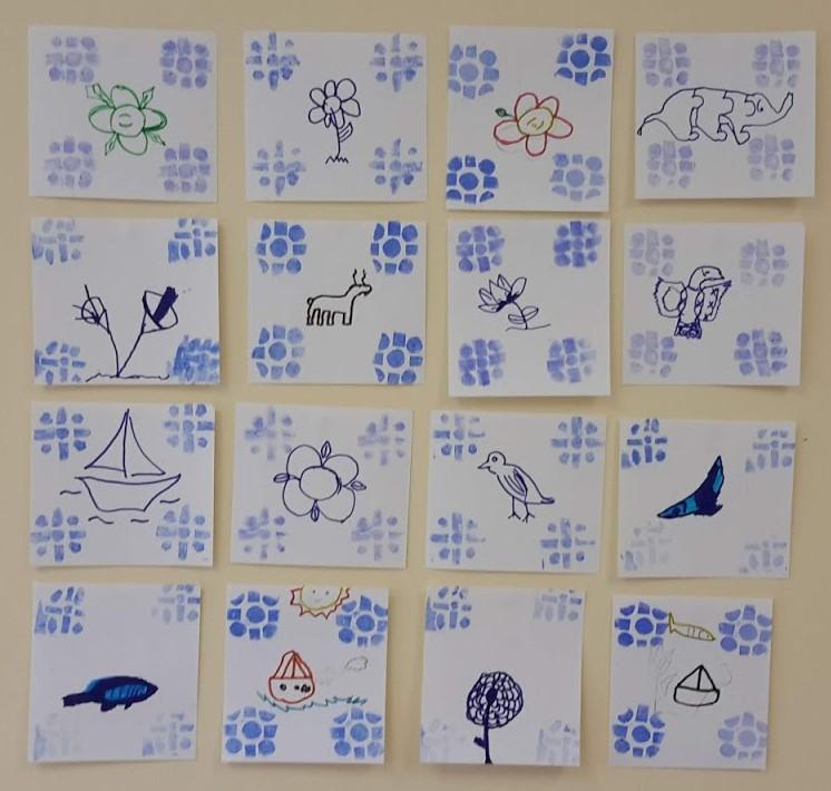Azulejos desenhados pelos alunos