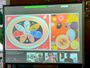 No quadro interativo, podemos ver trabalhos da artista plástica Hilma Af Klint e os participantes na sessão.