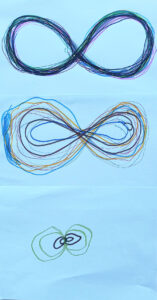 Trabalho de um aluno sobre a forma que representa o infinito, um 8 deitado.